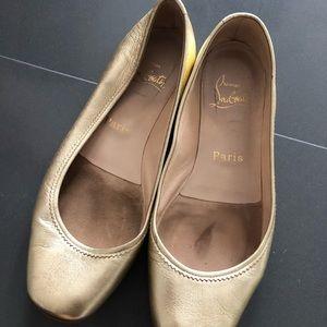 Christian Louboutin gold ballet flat size 36.5